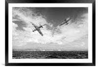 Bf109 down in the Channel B&W version, Framed Mounted Print