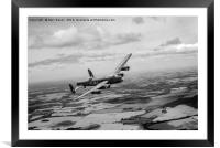Lancaster PA474 over England B&W version, Framed Mounted Print