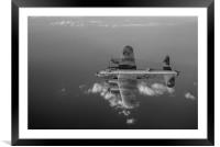 Kangaroo nose art Lancaster W5005 over water B&W v, Framed Mounted Print
