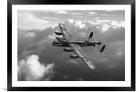 Lancaster W5005 AR-L Leader above clouds B&W, Framed Mounted Print