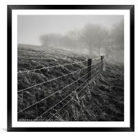 Barbed Wire Fence, Framed Mounted Print