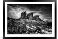 Tre Cime in the Dolomites , Framed Mounted Print