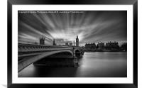 Westminster Bridge and Big Ben, Framed Mounted Print