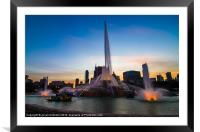 Fountain at Sunset, Framed Mounted Print