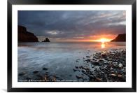 Talisker Bay and Spikes from the setting Sun, Framed Mounted Print