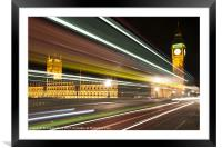 Big Ben and London Bus at Night, Framed Mounted Print