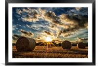 Straw Bales Sunset, Framed Mounted Print