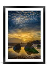 Combesgate Beach, Framed Mounted Print