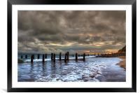 Old Groynes at Crow Point, Framed Mounted Print