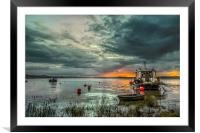 Houseboat on the River Taw, Framed Mounted Print