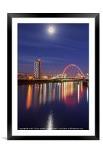 The Clyde Arc under a moonlit sky, Framed Mounted Print