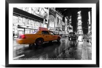 NYC taxi times square color popped, Framed Mounted Print