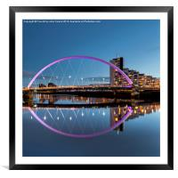 The Clyde Arc at Dusk Glasgow, Framed Mounted Print