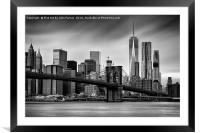 Brooklyn Bridge and trade centre, Framed Mounted Print