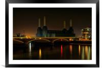 Battersea Power Station at Night, Framed Mounted Print
