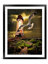Talacre lighthouse with seagulls, Framed Mounted Print