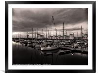Black and White Harbour, Framed Mounted Print