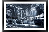 Winter Wonders at Scaleber Force (BW), Framed Mounted Print