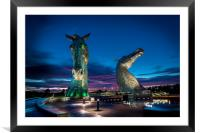 Sunset and the Kelpies , Framed Mounted Print