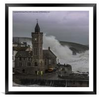 Stormy at the beach, Framed Mounted Print