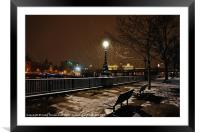 Benches, Framed Mounted Print