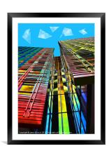 Colors in the City (with clouds), Framed Mounted Print