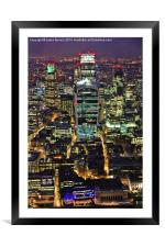 City of London Skyline at Night, Framed Mounted Print