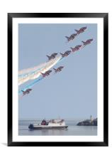 Red Arrows display over Douglas Bay, Framed Mounted Print