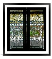 Antique Lead Glass Doors, Framed Mounted Print