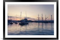 Weymouth Harbour at Night, Framed Mounted Print