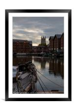 Gloucester Docks and Gloucester Cathedral, Framed Mounted Print