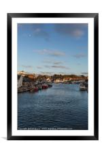 Weymouth Harbour Dorset with the moon, Framed Mounted Print