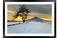 Winter Sunset Roseberry Topping Teesside, Framed Mounted Print