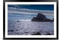 Rocks and Yacht, Framed Mounted Print