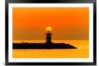 Sunset on the lighthouse, Framed Mounted Print