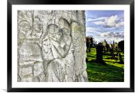Carved Angel headstone, Framed Mounted Print