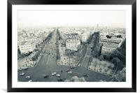 Champs Elysees from Arc de Triomphe, Framed Mounted Print