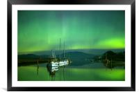 Boats and the southern lights, Framed Mounted Print