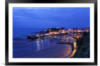 Tenby harbour at night, Framed Mounted Print