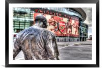 Thierry Henry Statue Emirates Stadium, Framed Mounted Print