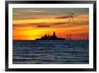 h m s dragon under the stars, Framed Mounted Print