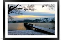 Snowy Coniston Water Jetty, Framed Mounted Print