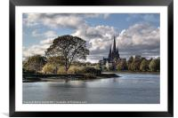 Stowe Pool and Lichfield Cathedral, Framed Mounted Print