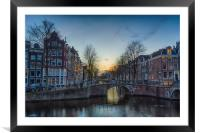 Twilight in Amsterdam, Framed Mounted Print