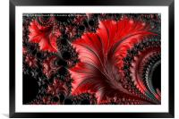 Red on Black Macro - A Fractal Abstract, Framed Mounted Print