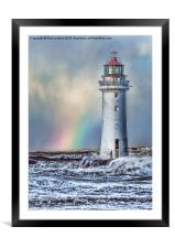 The Lighthouse and Rainbow, Framed Mounted Print