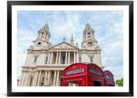 Red Telephone Boxes and St Paul's Cathedral, Lond, Framed Mounted Print