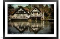 Boathouses at Goring on Thames, Framed Mounted Print