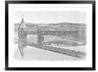 Pencil sketch Pontsticill Reservoir, Framed Mounted Print