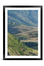Terraces in the High Valleys, Bhutan, Framed Mounted Print